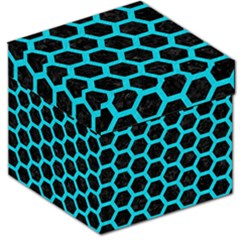 HEXAGON2 BLACK MARBLE & TURQUOISE COLORED PENCIL (R) Storage Stool 12