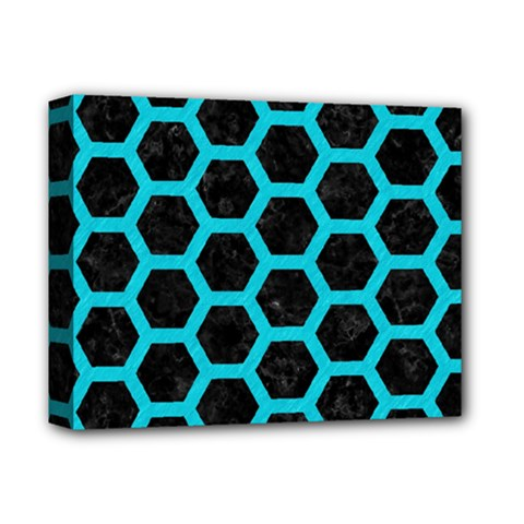 HEXAGON2 BLACK MARBLE & TURQUOISE COLORED PENCIL (R) Deluxe Canvas 14  x 11