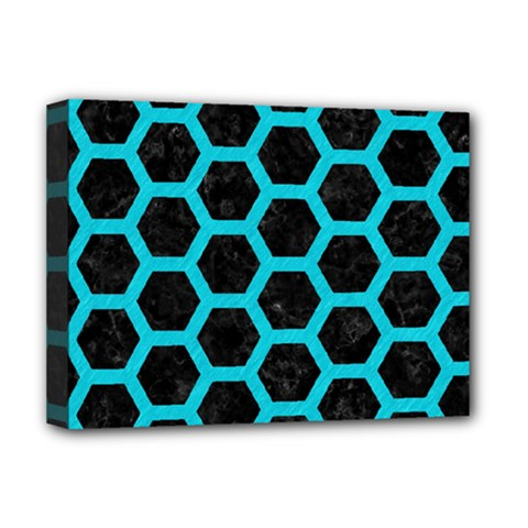 HEXAGON2 BLACK MARBLE & TURQUOISE COLORED PENCIL (R) Deluxe Canvas 16  x 12