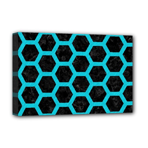 HEXAGON2 BLACK MARBLE & TURQUOISE COLORED PENCIL (R) Deluxe Canvas 18  x 12