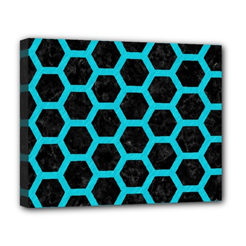 HEXAGON2 BLACK MARBLE & TURQUOISE COLORED PENCIL (R) Deluxe Canvas 20  x 16