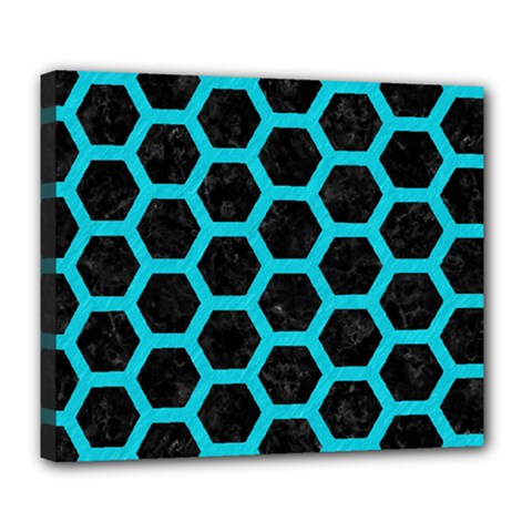 HEXAGON2 BLACK MARBLE & TURQUOISE COLORED PENCIL (R) Deluxe Canvas 24  x 20