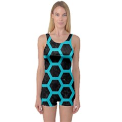 HEXAGON2 BLACK MARBLE & TURQUOISE COLORED PENCIL (R) One Piece Boyleg Swimsuit