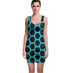 HEXAGON2 BLACK MARBLE & TURQUOISE COLORED PENCIL (R) Bodycon Dress