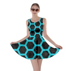 HEXAGON2 BLACK MARBLE & TURQUOISE COLORED PENCIL (R) Skater Dress