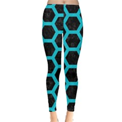 HEXAGON2 BLACK MARBLE & TURQUOISE COLORED PENCIL (R) Leggings