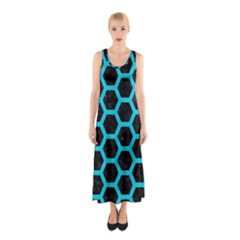 HEXAGON2 BLACK MARBLE & TURQUOISE COLORED PENCIL (R) Sleeveless Maxi Dress