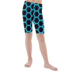 HEXAGON2 BLACK MARBLE & TURQUOISE COLORED PENCIL (R) Kids  Mid Length Swim Shorts
