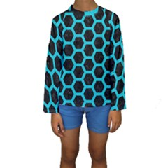 HEXAGON2 BLACK MARBLE & TURQUOISE COLORED PENCIL (R) Kids  Long Sleeve Swimwear