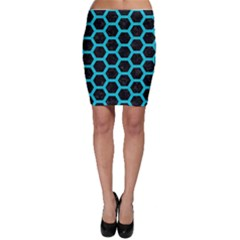 HEXAGON2 BLACK MARBLE & TURQUOISE COLORED PENCIL (R) Bodycon Skirt