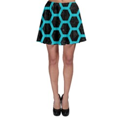 HEXAGON2 BLACK MARBLE & TURQUOISE COLORED PENCIL (R) Skater Skirt