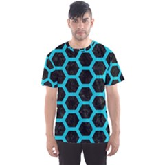 HEXAGON2 BLACK MARBLE & TURQUOISE COLORED PENCIL (R) Men s Sports Mesh Tee