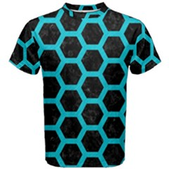 HEXAGON2 BLACK MARBLE & TURQUOISE COLORED PENCIL (R) Men s Cotton Tee