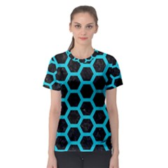 HEXAGON2 BLACK MARBLE & TURQUOISE COLORED PENCIL (R) Women s Sport Mesh Tee