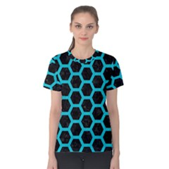 HEXAGON2 BLACK MARBLE & TURQUOISE COLORED PENCIL (R) Women s Cotton Tee