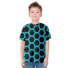 HEXAGON2 BLACK MARBLE & TURQUOISE COLORED PENCIL (R) Kids  Cotton Tee