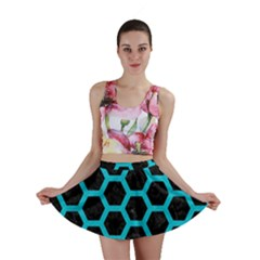 HEXAGON2 BLACK MARBLE & TURQUOISE COLORED PENCIL (R) Mini Skirt