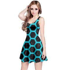 HEXAGON2 BLACK MARBLE & TURQUOISE COLORED PENCIL (R) Reversible Sleeveless Dress