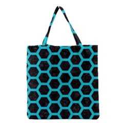 HEXAGON2 BLACK MARBLE & TURQUOISE COLORED PENCIL (R) Grocery Tote Bag