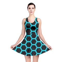 HEXAGON2 BLACK MARBLE & TURQUOISE COLORED PENCIL (R) Reversible Skater Dress