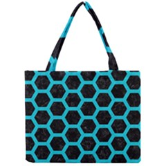 HEXAGON2 BLACK MARBLE & TURQUOISE COLORED PENCIL (R) Mini Tote Bag