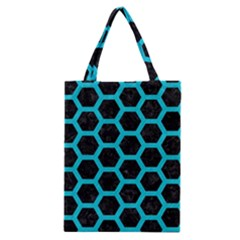 HEXAGON2 BLACK MARBLE & TURQUOISE COLORED PENCIL (R) Classic Tote Bag