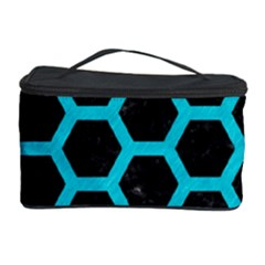HEXAGON2 BLACK MARBLE & TURQUOISE COLORED PENCIL (R) Cosmetic Storage Case