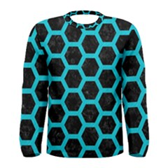HEXAGON2 BLACK MARBLE & TURQUOISE COLORED PENCIL (R) Men s Long Sleeve Tee