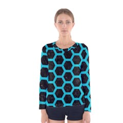 HEXAGON2 BLACK MARBLE & TURQUOISE COLORED PENCIL (R) Women s Long Sleeve Tee