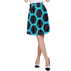 HEXAGON2 BLACK MARBLE & TURQUOISE COLORED PENCIL (R) A-Line Skirt