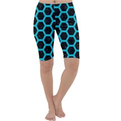 HEXAGON2 BLACK MARBLE & TURQUOISE COLORED PENCIL (R) Cropped Leggings