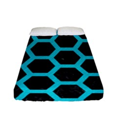 HEXAGON2 BLACK MARBLE & TURQUOISE COLORED PENCIL (R) Fitted Sheet (Full/ Double Size)