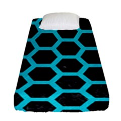 HEXAGON2 BLACK MARBLE & TURQUOISE COLORED PENCIL (R) Fitted Sheet (Single Size)