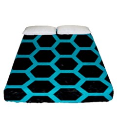 HEXAGON2 BLACK MARBLE & TURQUOISE COLORED PENCIL (R) Fitted Sheet (Queen Size)