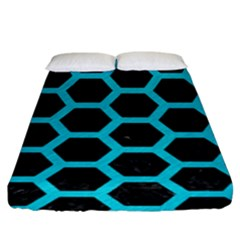 HEXAGON2 BLACK MARBLE & TURQUOISE COLORED PENCIL (R) Fitted Sheet (King Size)