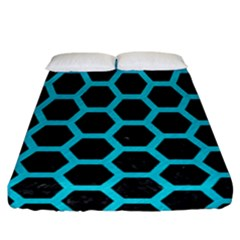 HEXAGON2 BLACK MARBLE & TURQUOISE COLORED PENCIL (R) Fitted Sheet (California King Size)