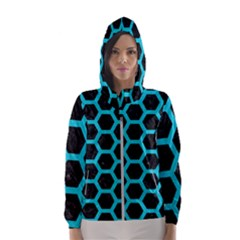 HEXAGON2 BLACK MARBLE & TURQUOISE COLORED PENCIL (R) Hooded Wind Breaker (Women)