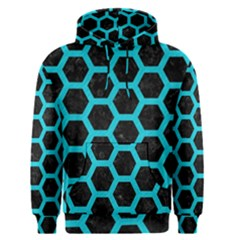 HEXAGON2 BLACK MARBLE & TURQUOISE COLORED PENCIL (R) Men s Pullover Hoodie