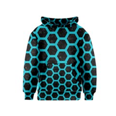 HEXAGON2 BLACK MARBLE & TURQUOISE COLORED PENCIL (R) Kids  Pullover Hoodie