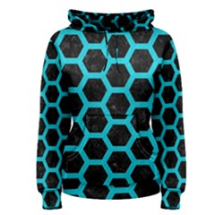 HEXAGON2 BLACK MARBLE & TURQUOISE COLORED PENCIL (R) Women s Pullover Hoodie