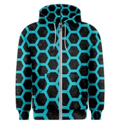 HEXAGON2 BLACK MARBLE & TURQUOISE COLORED PENCIL (R) Men s Zipper Hoodie