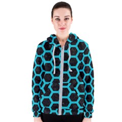 HEXAGON2 BLACK MARBLE & TURQUOISE COLORED PENCIL (R) Women s Zipper Hoodie