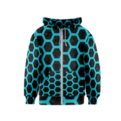 HEXAGON2 BLACK MARBLE & TURQUOISE COLORED PENCIL (R) Kids  Zipper Hoodie