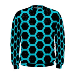 HEXAGON2 BLACK MARBLE & TURQUOISE COLORED PENCIL (R) Men s Sweatshirt