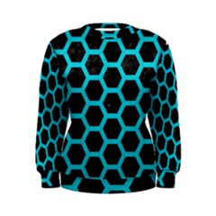 HEXAGON2 BLACK MARBLE & TURQUOISE COLORED PENCIL (R) Women s Sweatshirt