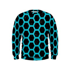 HEXAGON2 BLACK MARBLE & TURQUOISE COLORED PENCIL (R) Kids  Sweatshirt
