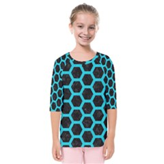 HEXAGON2 BLACK MARBLE & TURQUOISE COLORED PENCIL (R) Kids  Quarter Sleeve Raglan Tee