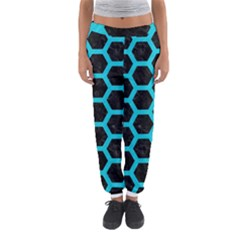 HEXAGON2 BLACK MARBLE & TURQUOISE COLORED PENCIL (R) Women s Jogger Sweatpants
