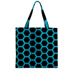 HEXAGON2 BLACK MARBLE & TURQUOISE COLORED PENCIL (R) Zipper Grocery Tote Bag