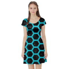 HEXAGON2 BLACK MARBLE & TURQUOISE COLORED PENCIL (R) Short Sleeve Skater Dress